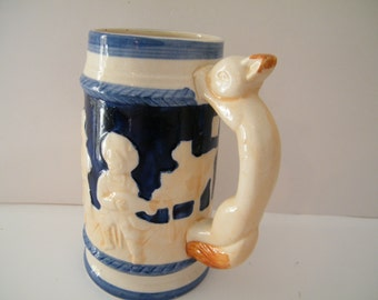 Stein With Vintage Mug With Rabbit Handle, Scenes Of Barn Dance Musicians 6  Inch Tall