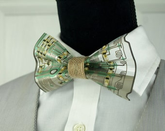 Khaki Bow Tie, Casual Bow Tie, Earthy Mens Accessories, Earth Day, Mens Gifts, Womens Gifts, Circuit Board Tie, Computer Parts (sku 115)