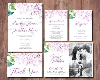 Floral Wedding Invitation, Printable Wedding Invitation, Summer Wedding Invitation Suite, Purple Wedding Invitation Suite, Lilac Wedding