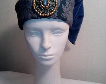 Blue Wizard Hat, Lt. Blue Velveteen Hat, Fantasy
