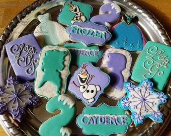 One (1) dozen Frozen themed cookies