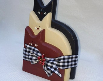 Wood Cats Grouping Tied in Black and White Checks Ribbon, Wood Cats Decor