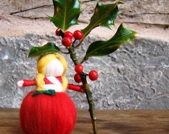 felted christmas elf, nature table doll, winter elf doll, pocket pixie girl, winter worry dolls, christmas holly doll, pagan mini felt dolls