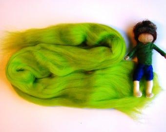 lime merino wool, needle felting wool, british felt wool, merino filz wool, waldorf nature table, hand felting wool, lime green wool spinner