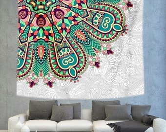 Floral tapestry, Mandala wall hanging, hippie tapestry, psychedelic tapestry, Indian tapestry, boho tapestry, wall decoration,white tapestry
