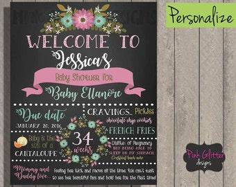 Baby Shower Board, Baby Shower Chalkboard, Baby Shower Sign, Shower Board, Shower Sign, Floral Baby Shower, Girl Baby Shower, Boy Baby