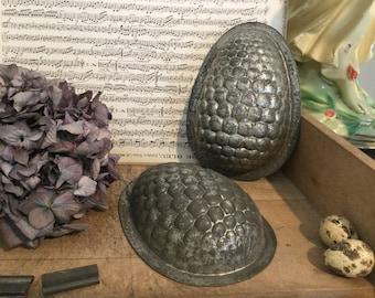Antique chocolate mold, giant egg, shabby