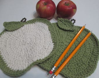 Crochet apple dishcloth/Cotton dishcloth/Teacher gift/Crochet tawashi/Apple tawashi/Crochet apple gift set/Teacher/Daycare gift/Mother gift