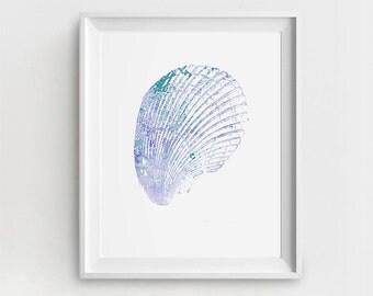 Shell Art Print, Printable Shell, Digital Nautical Art, Shell Painting, Blue, Watercolor Shell, Ocean Illustration, Large Wall Art, Sea Art