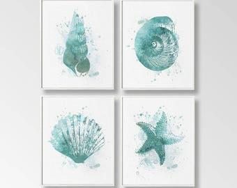 Nautical Art Print, Ocean Art Digital, Set of 4, Nautical Printable, DIY  Wall Art, Coastal Living Art, Turquoise Beach Art, Beach Cottage