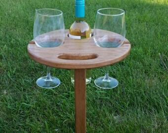 Oak folding wine table