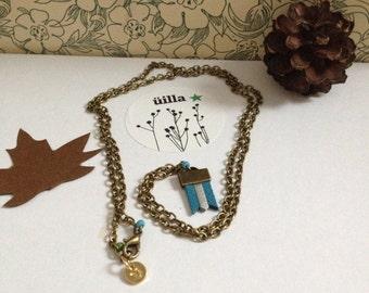 """minimalist necklace """"Amal"""" vegan leather jewel uilla.design"""