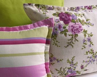 Set 3 cushions spring-summer! Flowers, stripes, green, flower, pillow, pillow pillow coordinates, lines, throw pillows, pillow