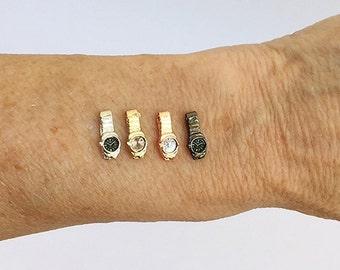 Miniature Wristwatch / Miniature Jewelry / Dollhouse Watch / Miniature Watch / Miniature Mans Watch / Dollhouse Accessory / Doll Watch