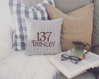 Personalized Address Pillow/Embroidered Home Address Pillow/Monogrammed Address Pillow