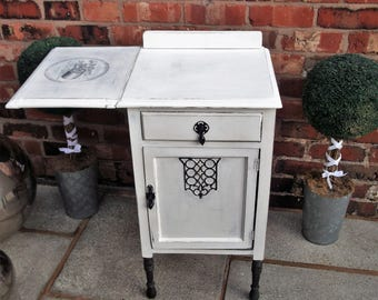 Vintage Sewing Desk / Table  Adorned With Cotton Reel Advertising Shabby Chic Style With Drop Leaf .