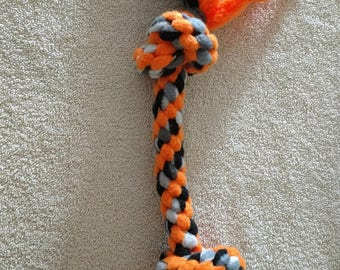 Fleece dog toy-dog tug toy-in orange and camo
