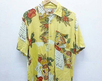 Hot Sale!!! Rare Vintage 90s HANG TEN ALOHA Hawaiian Button Down Shirt Hip Hop Skate Swag Large Size