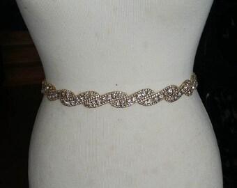 Gold Wedding Dress Sash/ Wedding Dress Belt/Crystal Sparkle Sash/ Rhinestone Sash/Wedding Dress Tie Back Belt