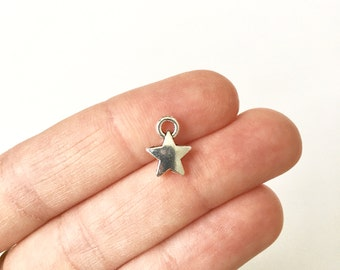 10 Star Charms with Antique Silver Toned Finish - SC1512