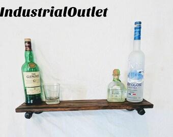Rustic Industrial Shelf, Steel Pipe Shelf, Industrial Pipe Shelf