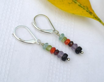 Gemstone Tiny Faceted Stack Sterling Silver Earrings