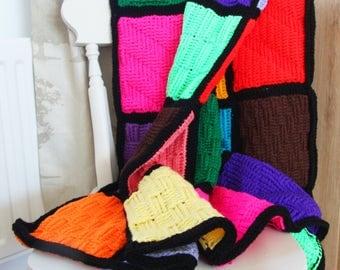 Bright Block Crochet Blanket