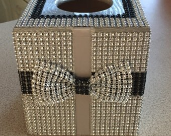 Tissue box cover - diamonte effect