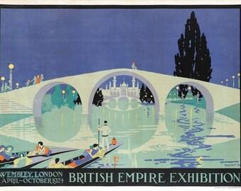 Vintage 1924 British Empire Exhibition Poster A3 Print