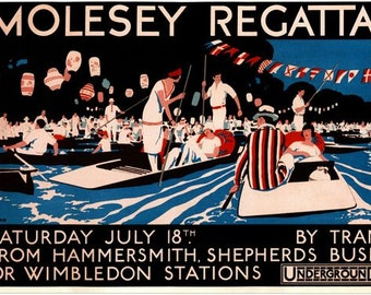 1925 Molesey Rowing Regatta Promotional Poster  A3/A2/A1 Print