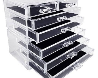 Ikee Design 2 Piece Acrylic Makeup and Jewelry Organizer Storage Set (SKU#COM0155)