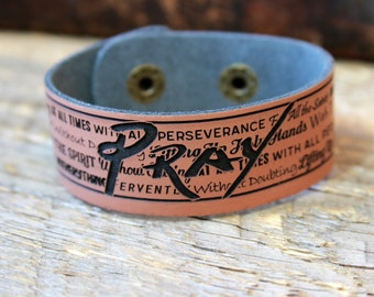 Leather Bracelet/ Custom bracelet/ Custom Leather Cuff/ Pray/ Pray Cuff/ Prayer Bracelet/ Engraved Leather Cuff