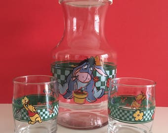 Vintage Anchor Hocking Winnie The Pooh Juice Pitcher & Juice Glasses
