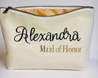 Bridesmaids' makeup bag- Canvas cosmetic bag- bridesmaid favors- Bridal party - Zipper pouches- canvas tote- personalized bridesmaids gifts