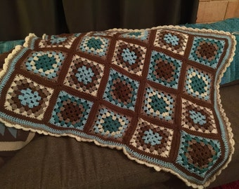 Turquoise and neutrals throw afghan or blanket