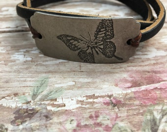 Leather Butterfly bracelet for ladies