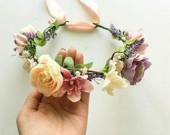 Bridal Flower Crown Spring Floral Crown Pastel Hair Wreath Flower Girl Headband Wedding Flower Crown Adult Summer Wedding