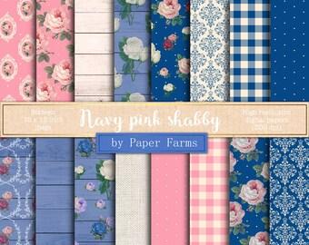 Navy pink digital paper, roses digital paper, shabby chic, digital paper, scrapbook paper, blue, pink, damask, picnic, gingham, DOWNLOAD