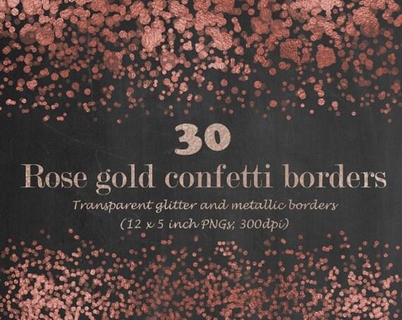 Digital Rose Gold Confetti Borders Metallic Confetti Border