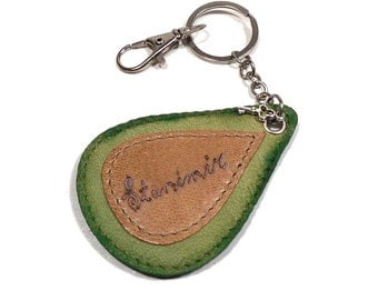 Personalized keychain, Green or Red keychain, drop keychain, leather key fob, printed leather keychain, key holder, key chain, keyholder