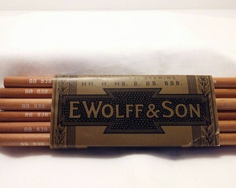 A new set of 12 Royal Sovereign carbon drawing pencils by E Wolff & Son. These are BB 838 pencils that have never been sharpened.