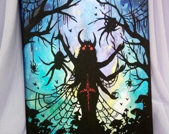 """Original iridescent acrylic painting """"Spider Queen"""""""