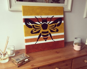 Metallic bee painting | Acrylic on canvas | 20x20 inches