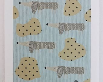 Dachshund dog pattern mix print contemporary art print living illustration present minimalist abstract