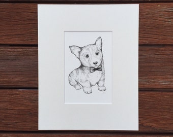 Corgi dog portrait art print - corgi drawing - black + white dog illustration- dog drawing print - animal art print - animal drawing