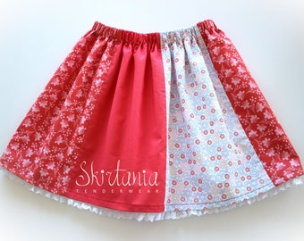 Red Beige - Girls Skirt Red Ligth Blue Pink White Lace Flowers