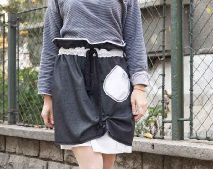 Retro Loose Skirt, Sexy Short Black Skirt, Boho Chic Skirt,