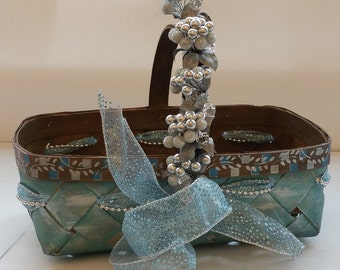 "Small Anything Gift Basket ""La Piccola Vita"" ""Little Gems Series"" ""AQUAMARINE"""