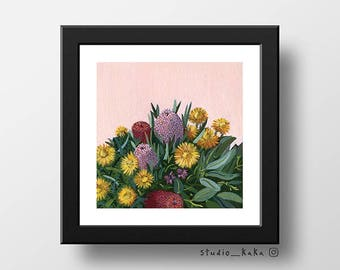Pink Bouquet == Fine Art Print of Original Acrylic Painting