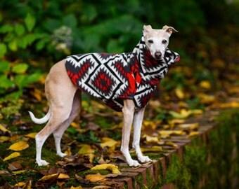 Double-lined Italian Greyhound Southwest Red Grey Fleece Jacket. Dog Sweater. Dog Clothes. Dog Clothing. Italian Greyhound Clothing.
